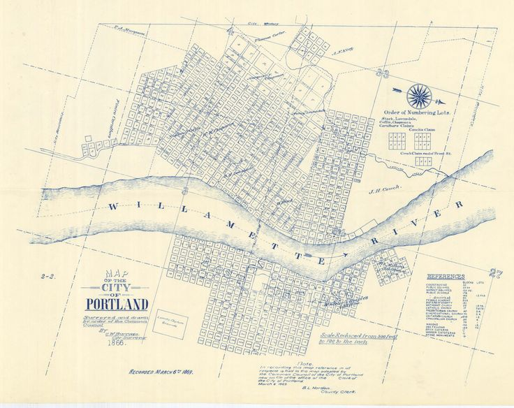 This is a nifty map of Portland from the very early days. East Portland was a separate city until 1891 when Portland and East Portland consolidated.