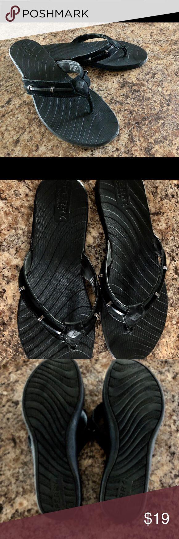 Sperrys Topsider flip-flops size 7 women Sperrys Topsider Black leather upper flip-flops size 7 women Sperry Top-Sider Shoes Sandals
