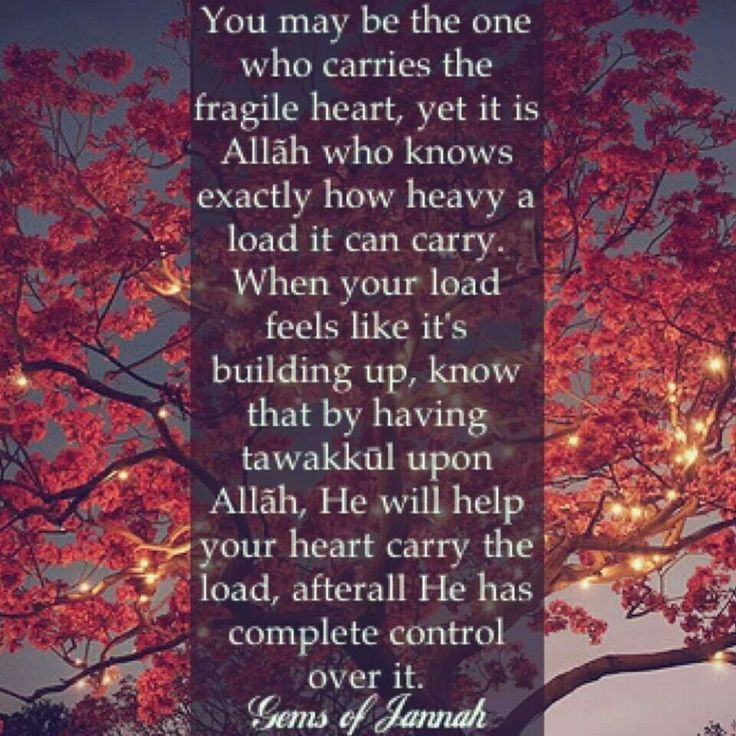 Your heart and its burden are controlled by allah. Tawakkol on allah
