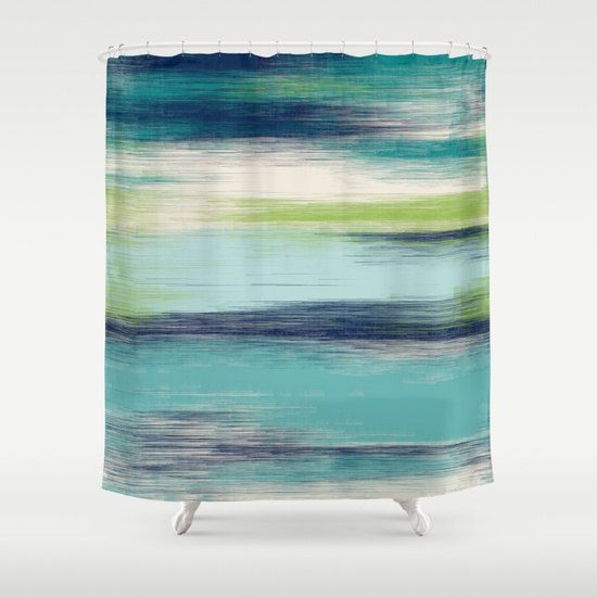 Abstract Shower Curtain Teal Navy Green Cream by HLBhomedesigns