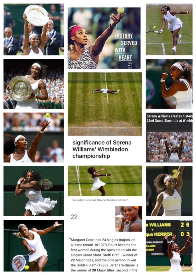 Congratulation Serena Williams  A commanding final game gave Serena Williams a straight-set victory over Angelique Kerber in the Wimbledon women's singles final Saturday July 9, 2016 Below, Stats & Info puts her accomplishments into perspective.  Adding up the titles Williams has 22 Grand Slam titles, matching Steffi Graf for second-most among women all time behind Margaret Court (24). Saturday's victory gave Williams her seventh Wimbledon singles title. Only Martina Navratilova, with nine…