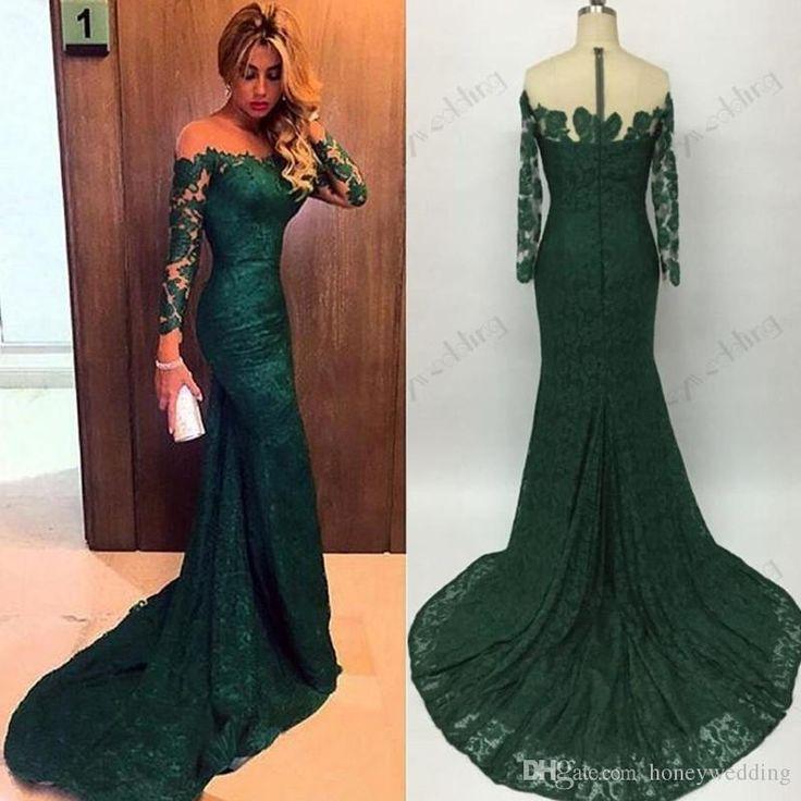 Hot Sale 2016 Emerald Green Mermaid Lace Evening Dresses Custom ...
