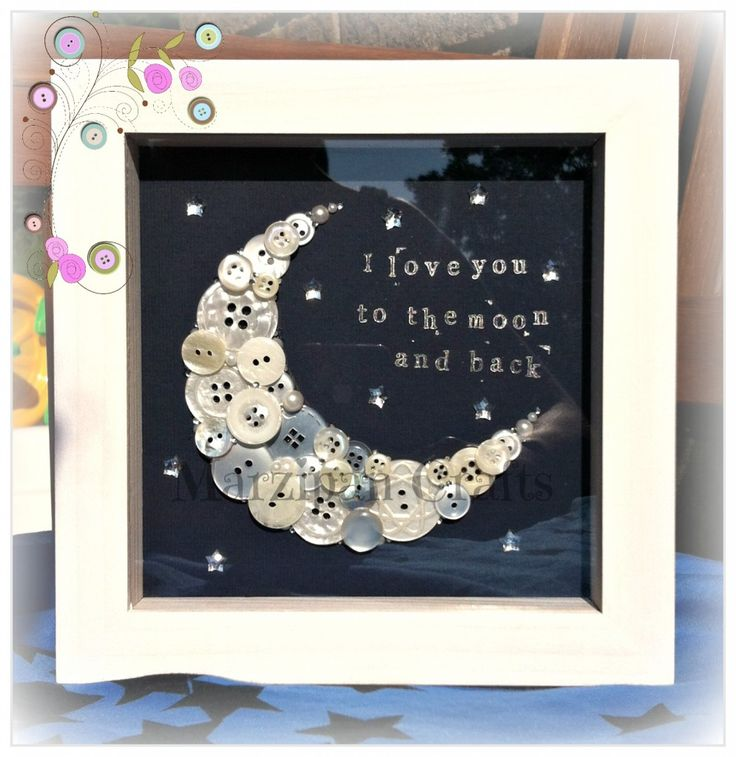 """'I love you to the moon and back' button moon in a 6x6"""" box frame."""