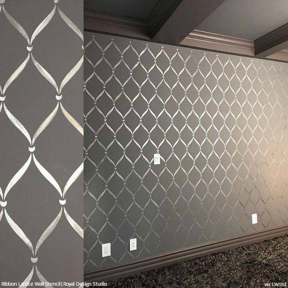 ruban treillis treillis mural pochoir mod le de papier. Black Bedroom Furniture Sets. Home Design Ideas
