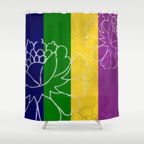 chinese flowers u0026 stripes purple yellow green blue shower curtain by katayoon photography u0026 design