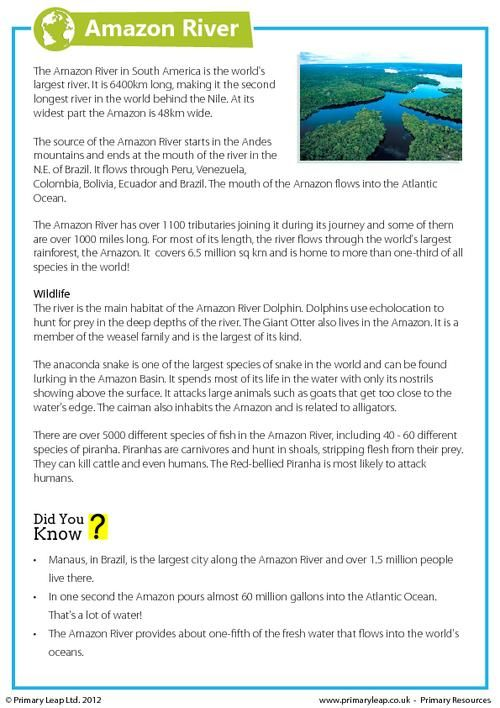 This Year 6 Geography Worksheet Includes Interesting Facts