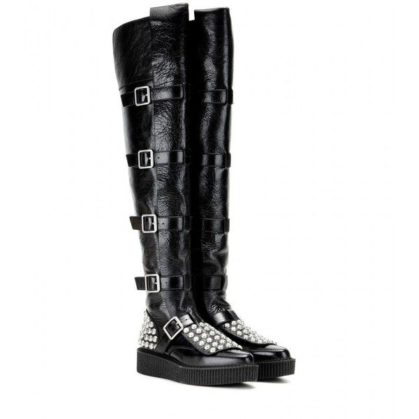 Marc by Marc Jacobs Marlow Embellished Leather Over-the-Knee Boots ($1,205) ❤ liked on Polyvore featuring shoes, boots, black, thigh high boots, black leather over the knee boots, genuine leather boots, black thigh boots and leather thigh boots