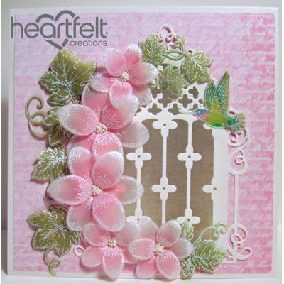 Heartfelt Creations - Pink Vellum Orchids Window Project