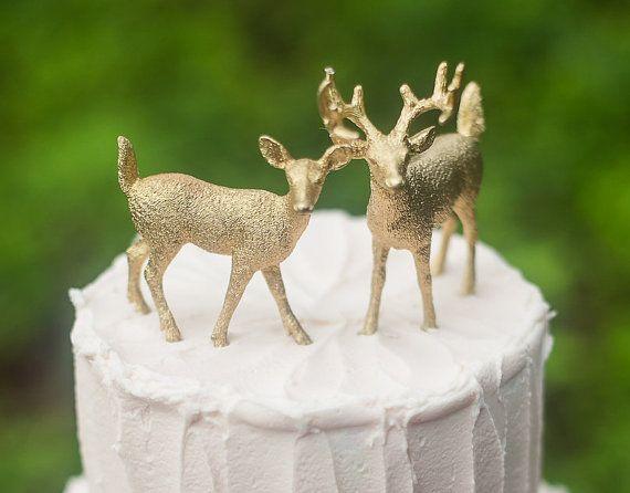 Gold Deer Cake Topper Golden Wedding Bride & by FairyfolkWeddings