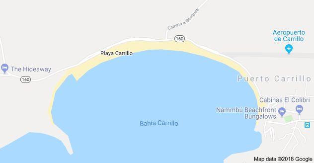 Map of Playa Carrillo, Guanacaste Province, Costa Rica