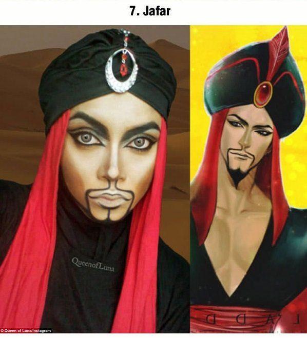Maquillista malaya se transforma en impresionantes personajes Disney usando su hijab