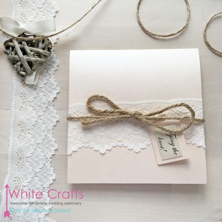 lace, string and peach coral elegant style rustic wedding invitation 'tying the knot' www.whitecrafts.com Invitations | White Crafts #Rustic #RusticWedding #CountryWedding #LaceWedding #FarmWedding #RusticWeddingInvitation