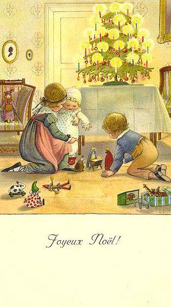 "Vintage French Christmas Card ""Joyeux Noel!"""