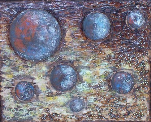 Tecnica mixta. Las siete lunas.De la pintora  Isabel Galve Burillo.