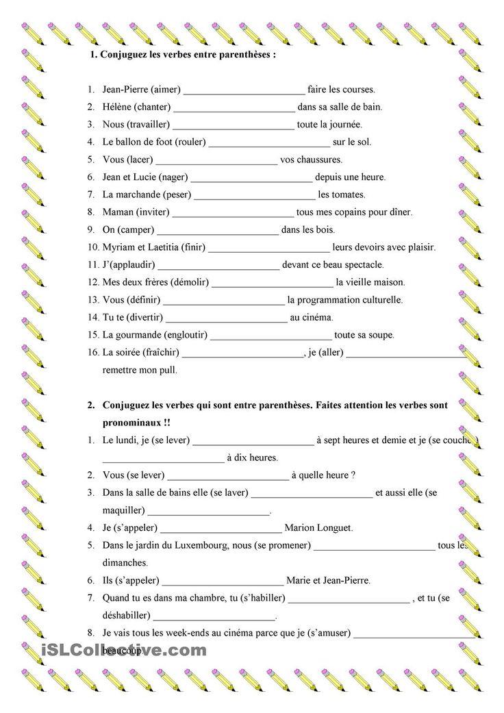 Verbes du 1er e 2 éme grupe