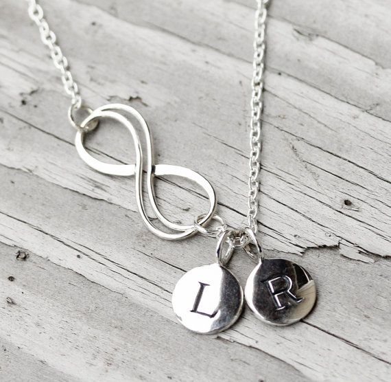 Lovers Infinity Necklace Monogram Disks by SimplisticaDesign, $38.00