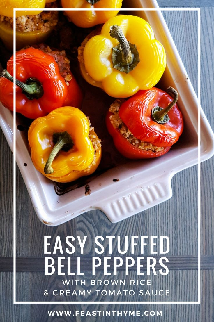 Easy Stuffed Bell Peppers With Brown Rice Creamy Tomato Sauce Fodmap Friendly Gluten Free Recipe Stuffed Peppers Creamy Tomato Sauce Stuffed Bell Peppers