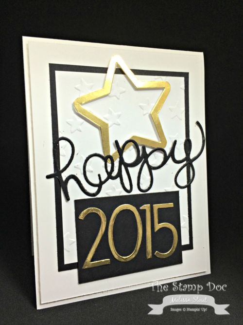 Stampin' Up! ... handmade New Year's card ... luv the fresh look ... black and white with shiny metallic gold ... die cut star, word and year ... great card!
