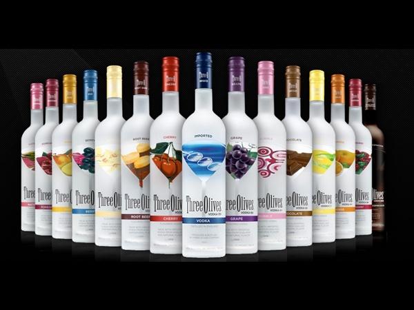 Three Olives Vodka - Berry, Cherry,   Chocolate, Citrus, Grape, Green Apple,  Mango, Orange, Passion Fruit, Pomegranate, Raspberry, Root Beer,  Tomato, Triple Shot Espresso, Vanilla,  Watermelon