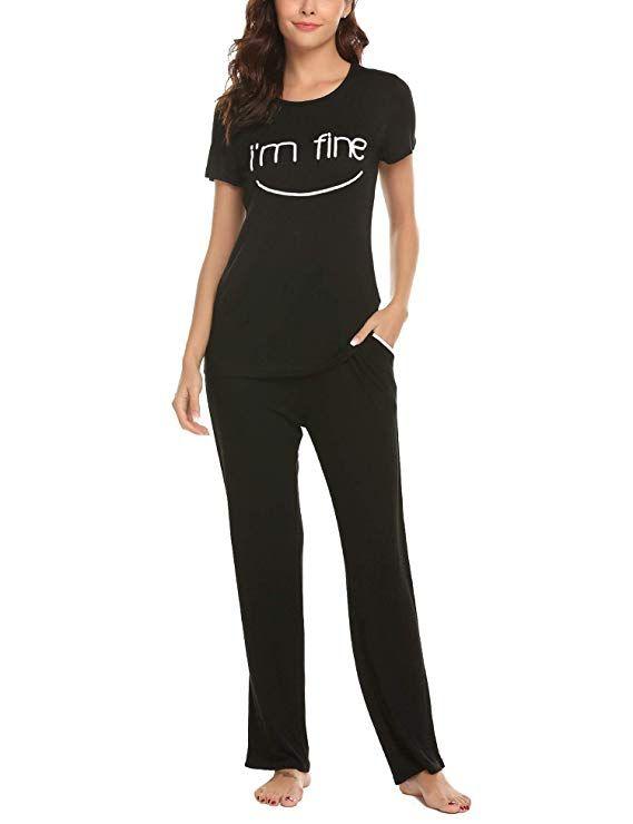7cc02d69f8 Hotouch Pajama Set Women Soft Lightweight Short Sleeve Sleepwear Nightwear Pjs  Black S