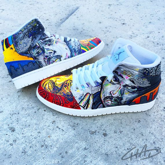 LEGENDS Tupac and Biggie Custom Hand Painted NIKE by ArtOfTheSole