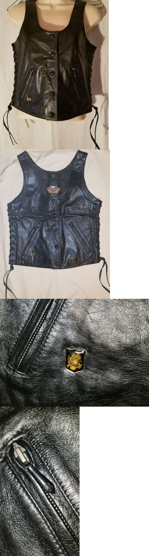 Vests 15775: Harley Davidson Leather Vest Womens Size Xs Lace Up Sides Black -> BUY IT NOW ONLY: $45.99 on eBay!