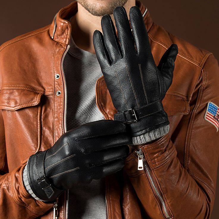 Leather Gloves Men Sheepskin Gloves Wrist Winter Lambskin Genuine Leather Gloves For Male Warm Leather Driving Gloves