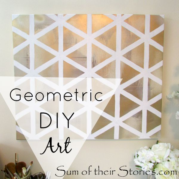 Geometric DIY art tutorial | sumoftheirstories.com | #diyart #geometric #gold