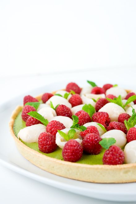 Lychee, Raspberry, Green Tea Tart...I wonder the difference in taste if the lychees are fresh or canned...