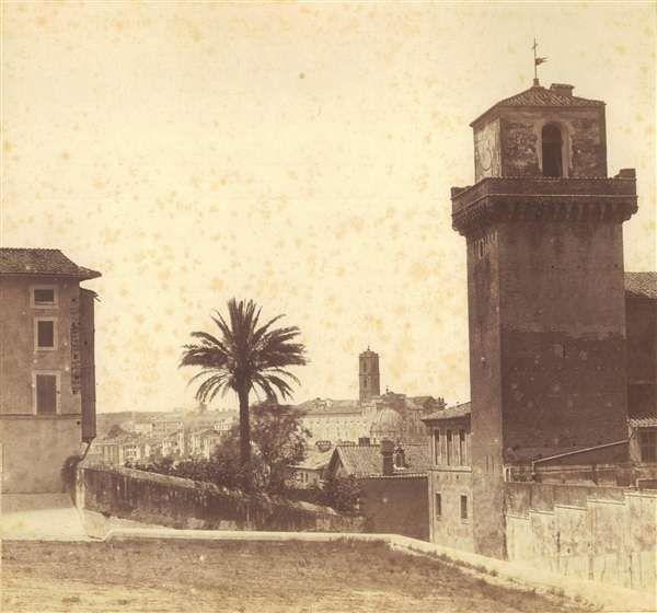 1858 circa autore non identificato . San Pietro in Vincoli - vista panoramica verso il Campidoglio.