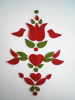 felt Hungarian folk art pieces, ready to sew