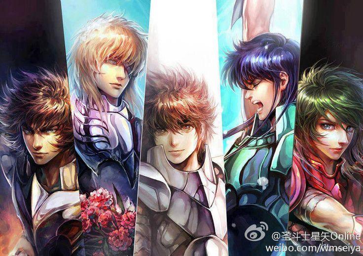 Saint seiya - Cavaleiros de Bronze realistas - Ikki, Hyoga, Seiya, Shiryu e Shun