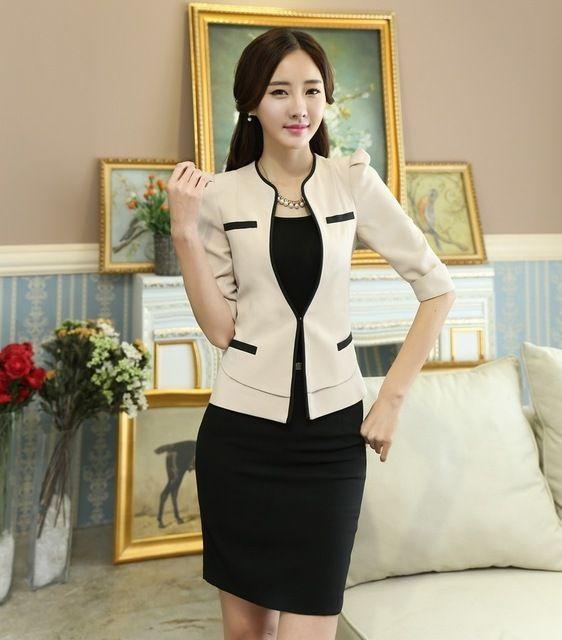 Primavera uniforme de la oficina diseños mujeres elegantes trajes de falda con chaqueta y falda conjuntos para mujer formales trajes uniformes salón de belleza