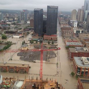 Downtown Calgary flooded on the first day of summer 2013 Yikes