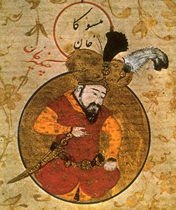 Genghis Khan, from a 16th-century Persian miniature. The Granger Collection, New York. #miniature