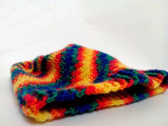 Blue Yellow Green Mens Wool Slouch Beanie Crochet by HappyWoollies