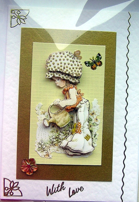 A Joy to Garden HandCrafted 3D Decoupage Card  by SunnyCrystals, £1.75