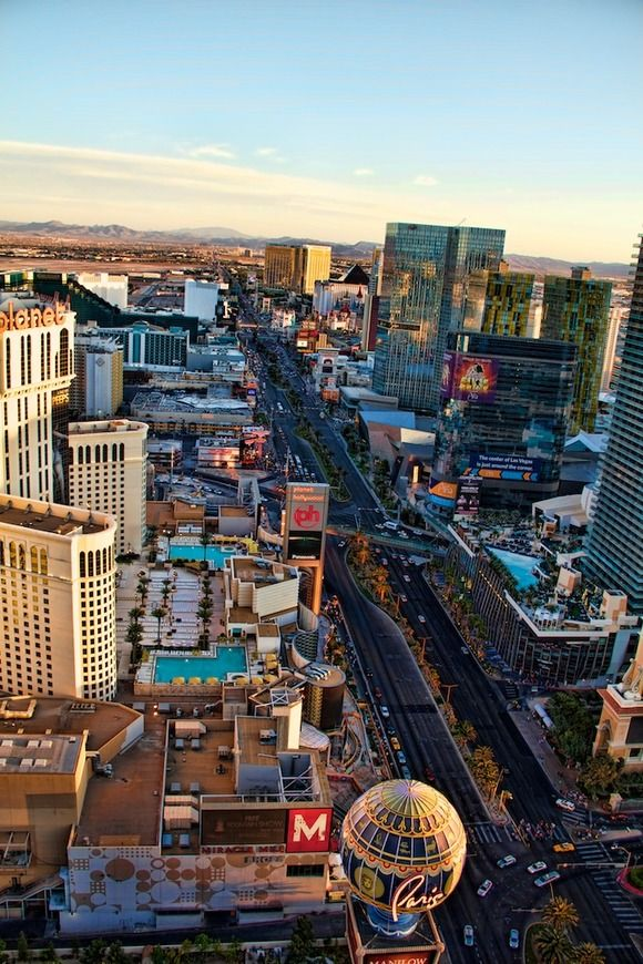I've seen this by helicopter at night! Las Vegas Strip - this is a cool aerial shot!