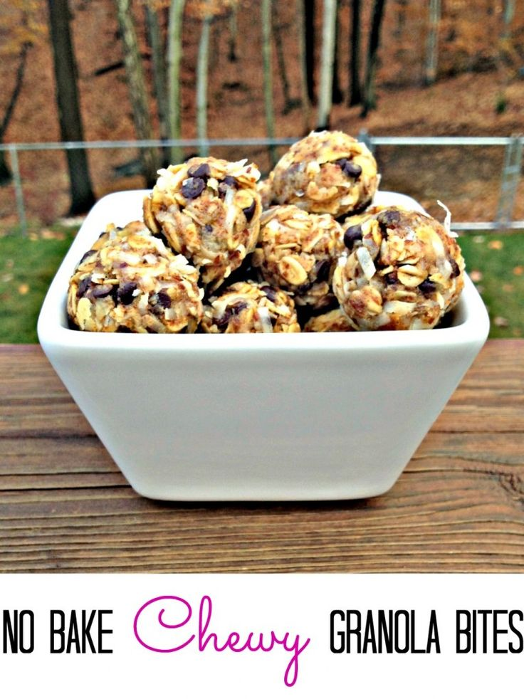 No Bake Healthy Chewy Coconut Chocolate Chip Energy Bites!  Perfect for a grab  go breakfast or snack.  Great lunchbox treat.
