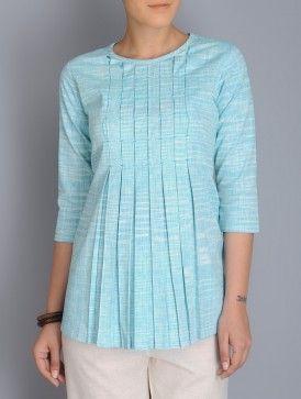 Aquamarine Blue Pleated Khadi Top