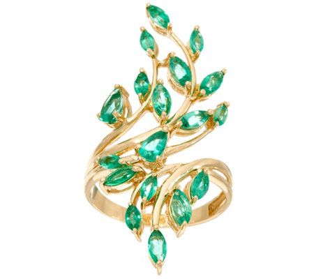 Multi-Cut Zambian Emerald Elongated Vine Design Ring 14K, 1.50 cttw