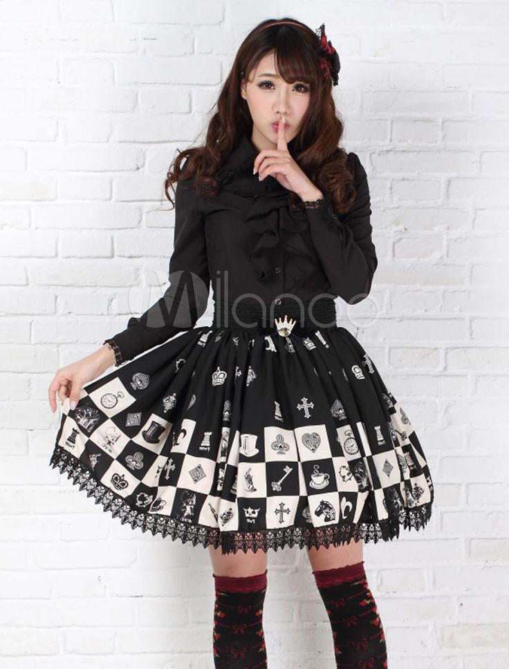 Dandy Black Lace Polyester Lolita Skirts #06390458169 €22,62