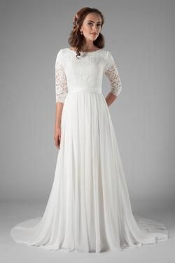 b0e47713932 Modest chiffon wedding dress