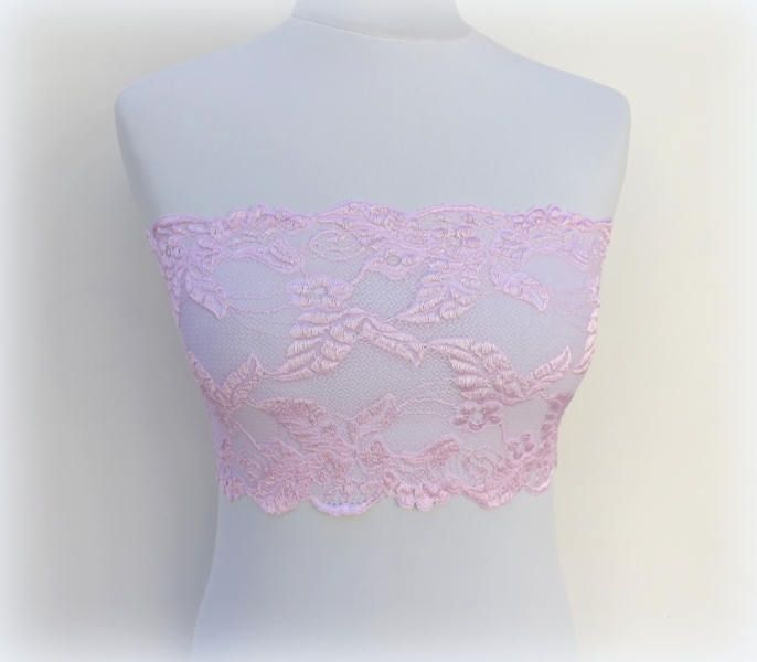 Pink lace bandeau top. Leaf lace strapless. Pink strapless. Pink lace lingerie. Gift for her. by MissLaceAccessories on Etsy