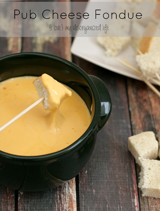 Pub Cheese Fondue Recipe - {i love} my disorganized life - sharp cheddar cheese gives this fondue a delicious tangy flavor, perfect for dipping bread, pretzels and veggies