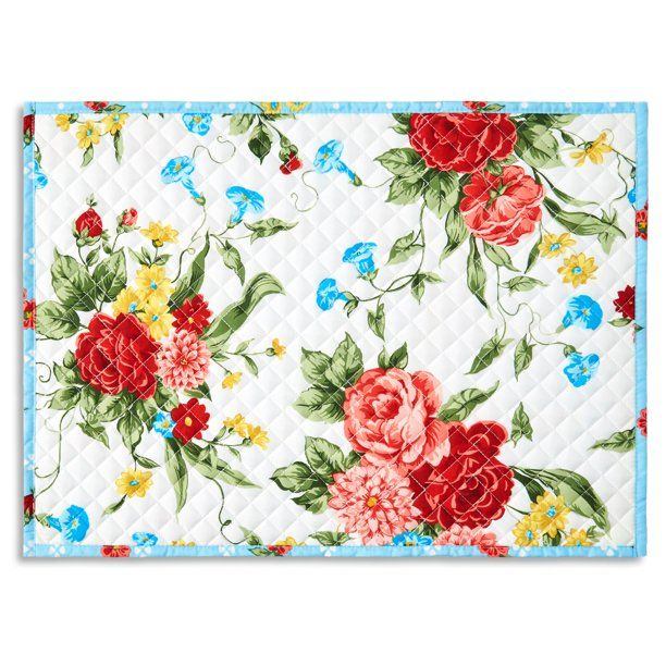 The Pioneer Woman Sweet Rose Quilted Placemat 19 X14 Multi Color 1 Piece Walmart Com In 2021 Pioneer Woman Placemats Pioneer Woman Kitchen Pioneer Woman Walmart