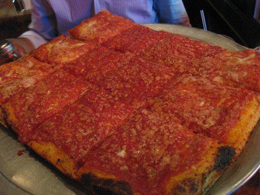 Brooklyn Pizza! Omg, yum! @ L Spumoni Gardens Brooklyn NY <3