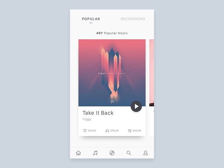 I came up UI and interaction design concept for music application. Check @2x for better view.