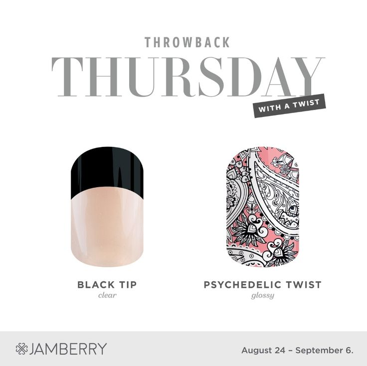 Final TBT for 2017! Black French Tip and Psychedelic Twist! Available through September 6th.  #throwbackthursdayjn #TBT #jamberry #blacktipjn #psychedelictwistjn #sarasjamaddicts