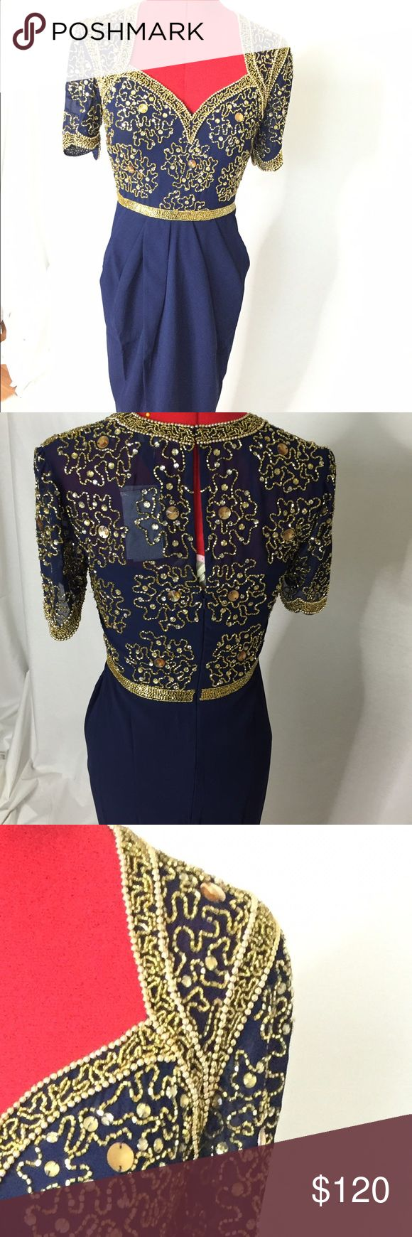 Virgos Lounge Navy Blue Beaded Dress. Sharp beaded midi dress. Dress is UK size 6/ US size 2. Garment is hand beaded and slight irregularities should not be regarded as defect. It is normal for some beads to fall off. Virgos Lounge  Dresses Midi